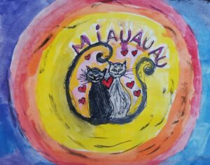 Pintura de Ritta Tristany para o álbum Voa Tempo